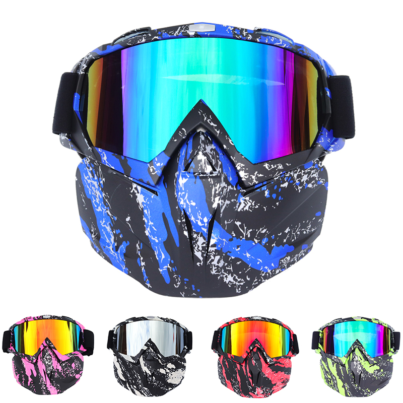 UV400 Cycling Goggle Modular Removable Mask Glasses men Mouth Filter Perfect for Open Face Motorcycle Half Helmet or Vintage|Motorcycle Glasses| |  - title=