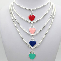 Sterling silver 925 classic popular original fashion heart shaped charm ladies necklace jewelry holiday gift