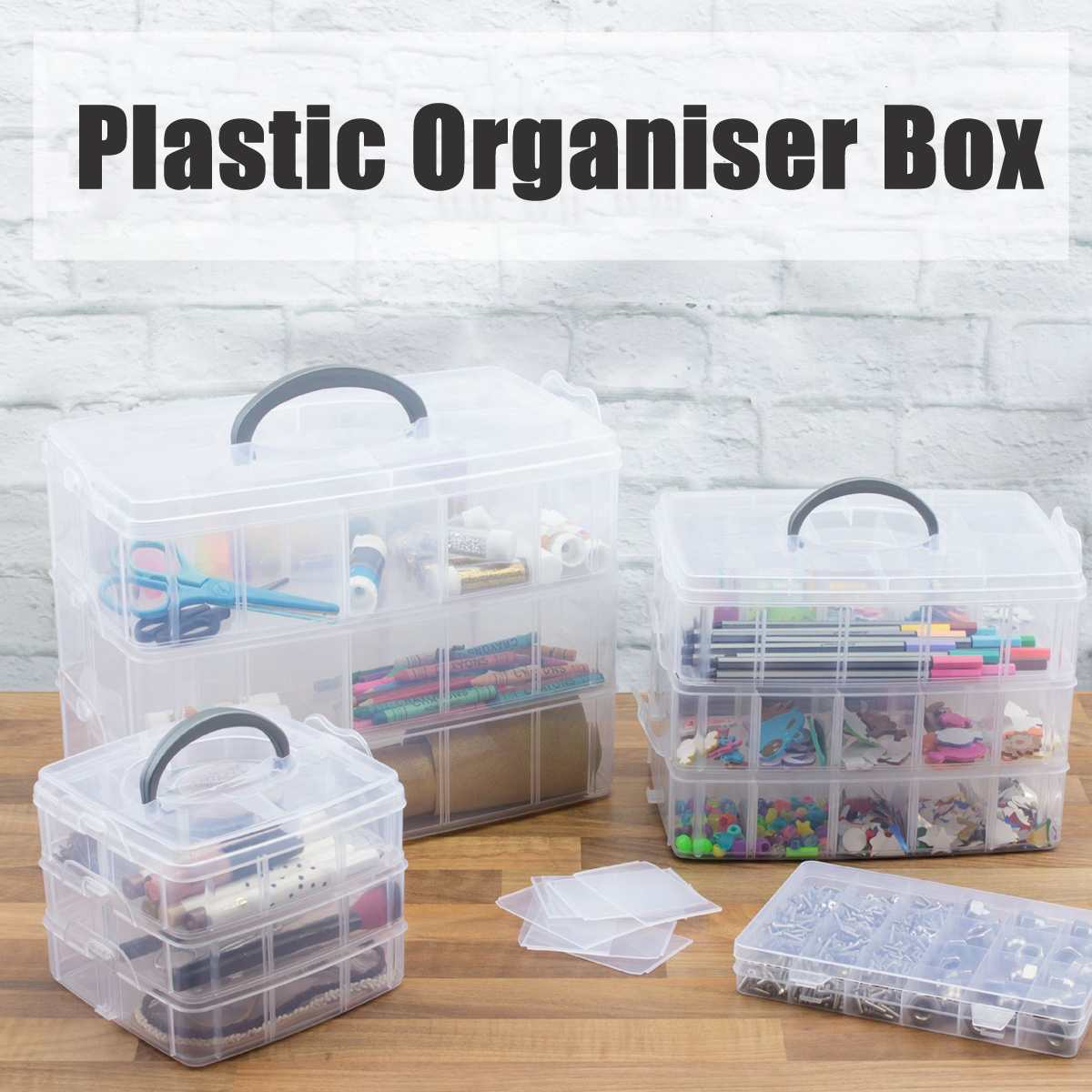 18-30 Grids Jewellery Craft Beads Case Box Plastic Storage Box Case Compartment Box Clear Storage Organiser Tool 3 Layer