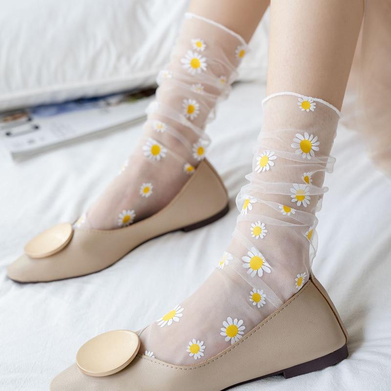Sweet Floral Women Socks Transparent Ultra-thin Daisy Socks Girls Fashion Chiffon Tulle Long Socks Calcetines Mujer Summer