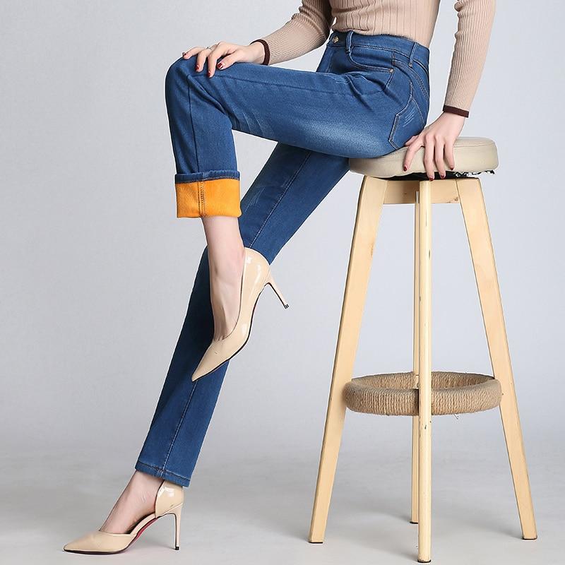 Straight Jeans Women 2020 Winter New Warm Denim Trousers High Waist Fleece Thick Slim Jeans Pants Black Plus Size Female P222