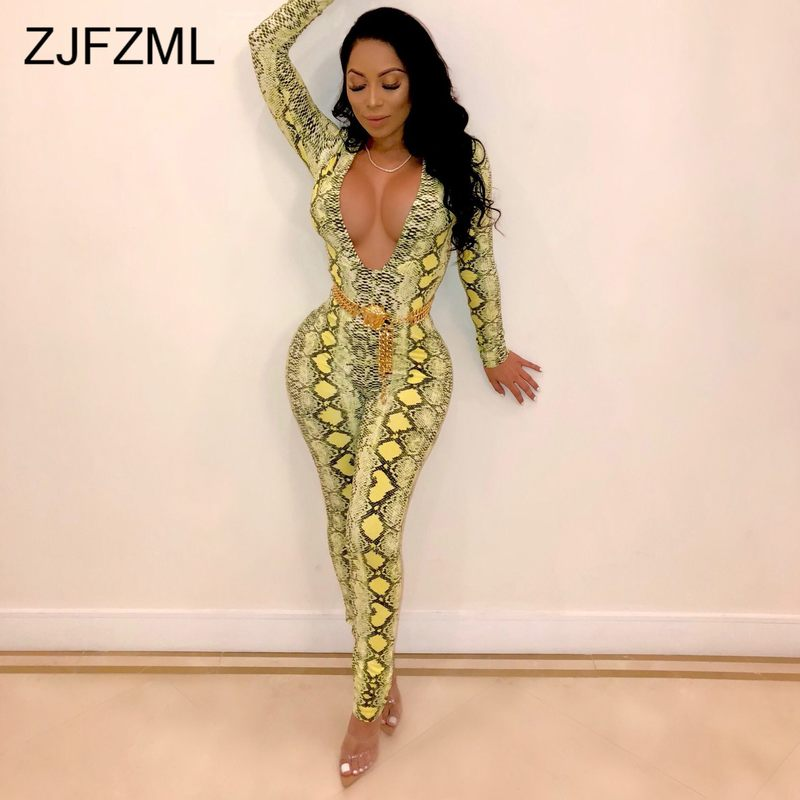 Snake Skin Print Rompers Womens Jumpsuit Sexy Deep V Neck Long Sleeve One Piece Overall Vintage Neon Green Pink Party Bodysuit