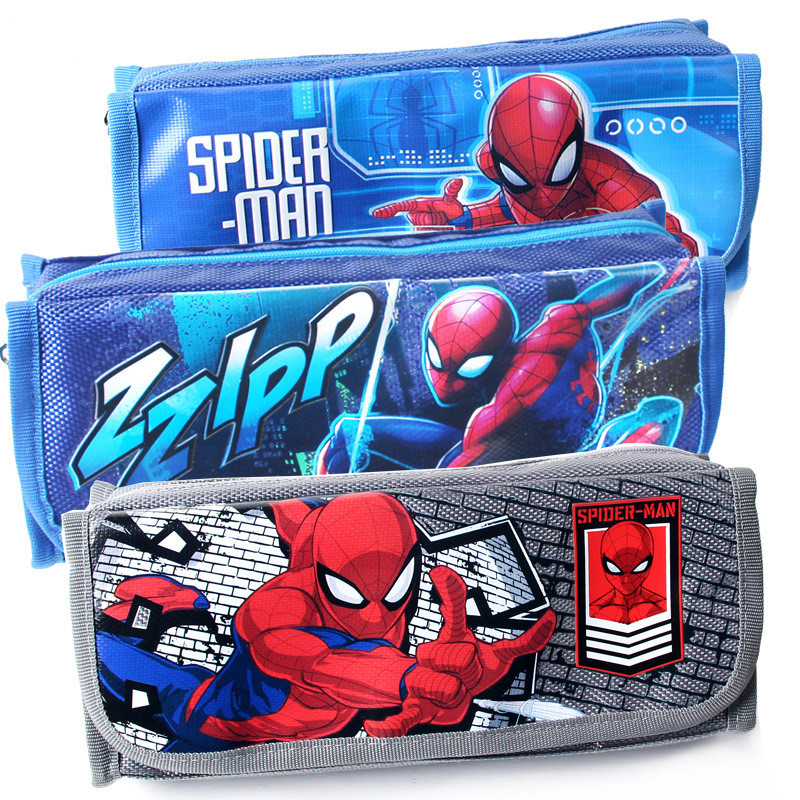 Spiderman Boy Cartoon Pencil Bag Disney Large Capacity Stationery Pencil Case Simple School Supplies Kids Gift