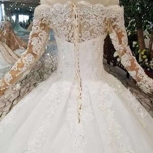 Image 5 - HTL108 בוהמי חתונת שמלת כמו לבן כבוי כתף סירת צוואר ארוך טול אפליקציות שרוולים розовое платье