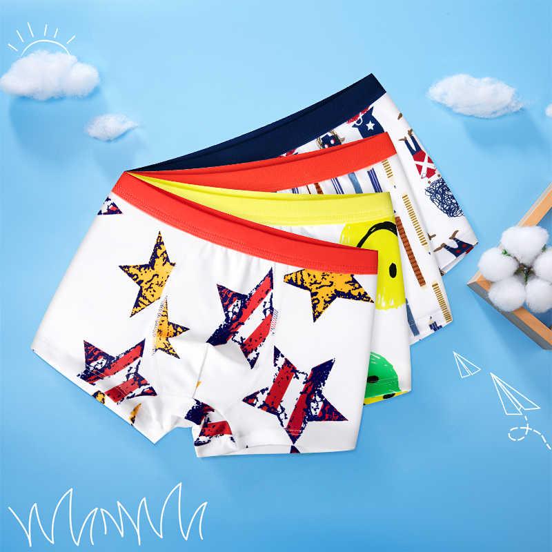 4 Uds. Ropa interior infantil de alta calidad para niños dibujos animados de gato pantalones cortos de algodón suave para niños adolescentes bragas a rayas 4-16T
