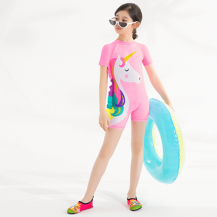 2019 New Girls Swimsuit One-Piece Unicorn Swimsuit One-Piece Sun-Protection Surfing Suit Foreign Trade Girl Children Swimsuit