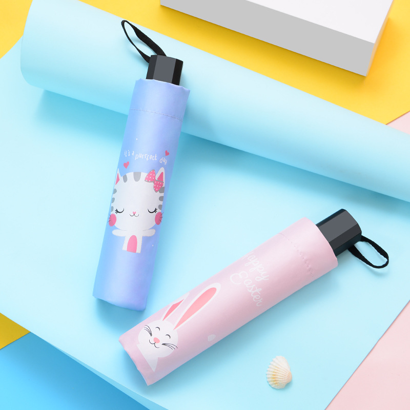 Yu Bao Simple White Plaid Tri-fold Umbrella Parasol Rain Or Shine Dual Purpose Umbrella Parasol UV-Protection Customizable Logo