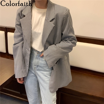 Colorfaith New 2021 Autumn Winter Women's Blazers Plaid Buttons Pockets Jackets Checkered Vintage Oversize Lady Wild Tops JK7966 1
