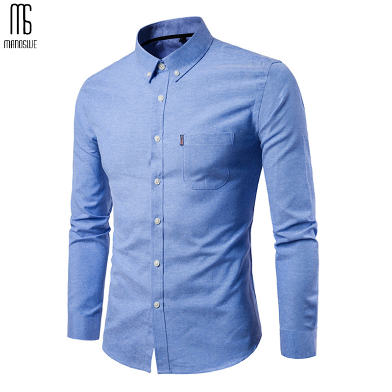 Manoswe 2019 Autumn Oxford Long Sleeve Shirt Men Shirt White Mens Dress Shirts Henley Business Casual Clothing Large Size 5xl