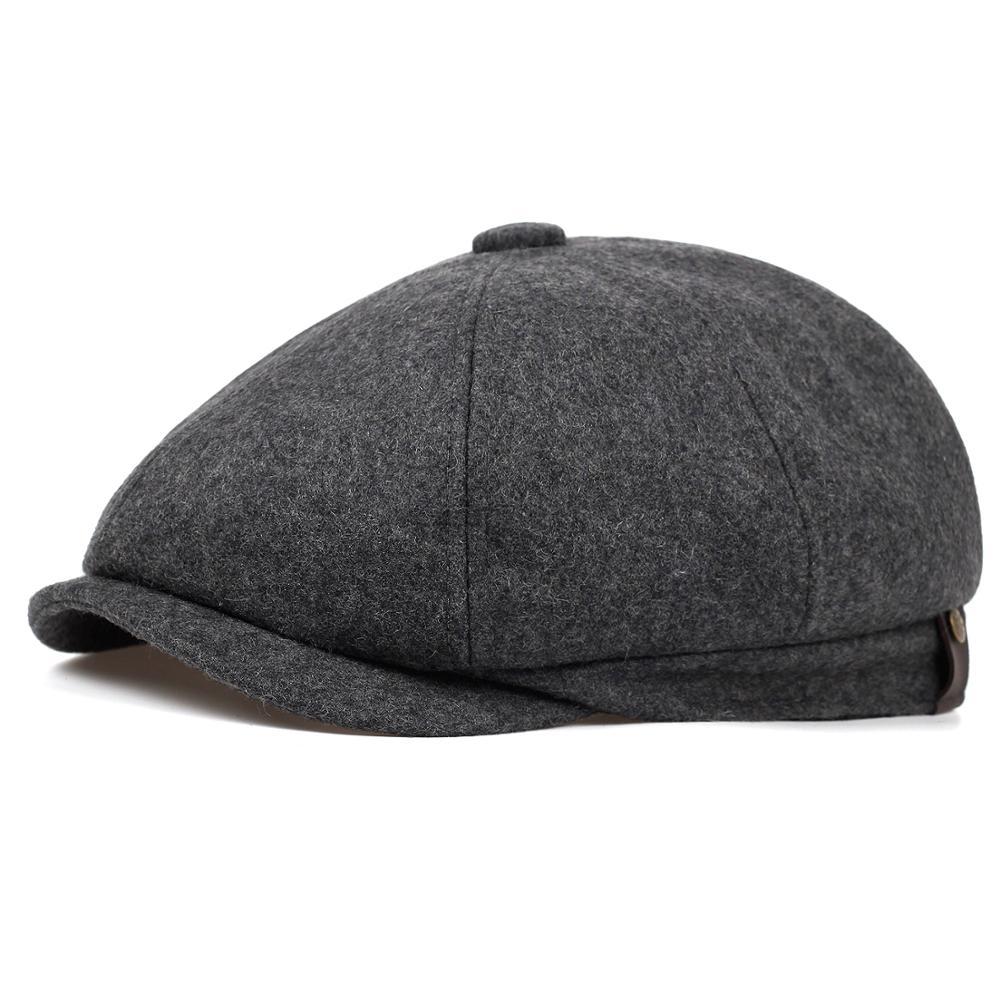 2019 New Black Grey Wool Hat Man Newsboy Caps Herringbone Tweed Warm Winter Octagonal Hat Male Female Gatsby Retro Flat Caps
