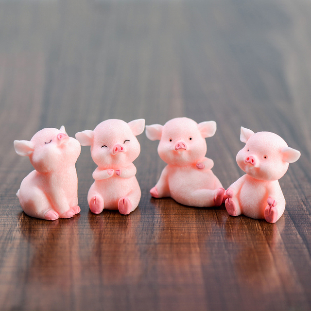 Miniature Cute Pig Garden Figurines Fairy House Home Office Desk Decoration Modern Accessories  Resin Miniatures Mini DIY Decor 3