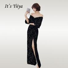 Its Yiiya Evening Dress Shining Black Boat Neck Sequin Mermaid Women Party Dresses Hafl Sleeve Floor Length Robe De Soiree E724