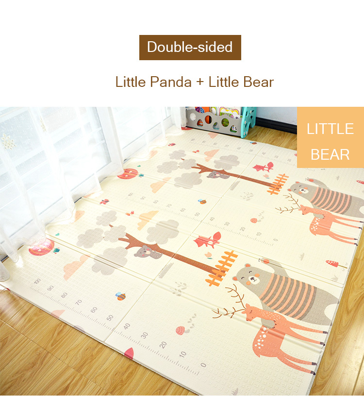 H48ee6739929b4b08bfe36ed72415e221Z XPE Folding Baby Play Mat 1cm Thick Crawling Toys for Children's Carpet Climbing Gyme Game Road Pad Living Room Home Kids Rug
