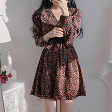 Женское шифоновое платье с длинным рукавом винтажное праздничное