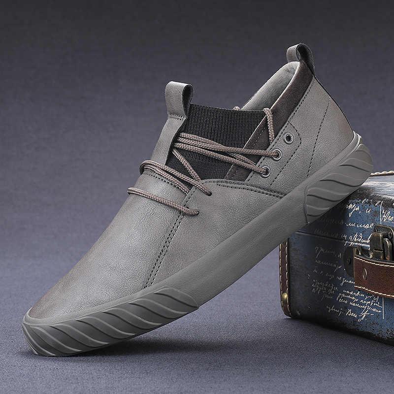 Уличная удобная модная повседневная мужская обувь; мужские высокие кроссовки для взрослых; мужские лоферы; мокасины; кожаная обувь; Новинка 2019 года
