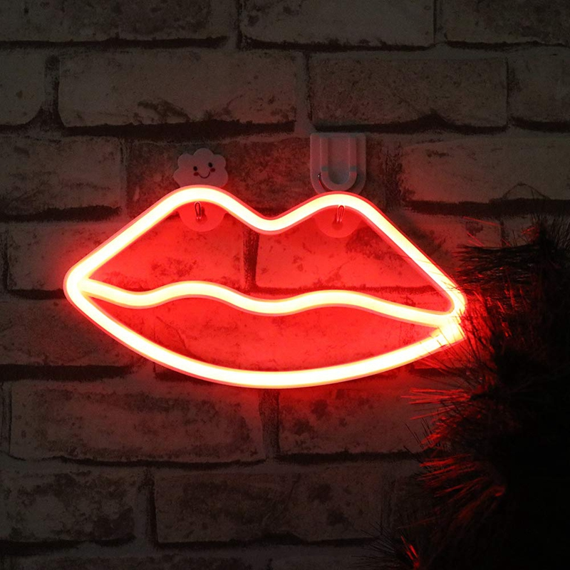 Neon Light Pink Red Lips LED Neon Sign USB / Battery Powered Home Wedding Party Valentine's Day Wall Hanging Decor Neon