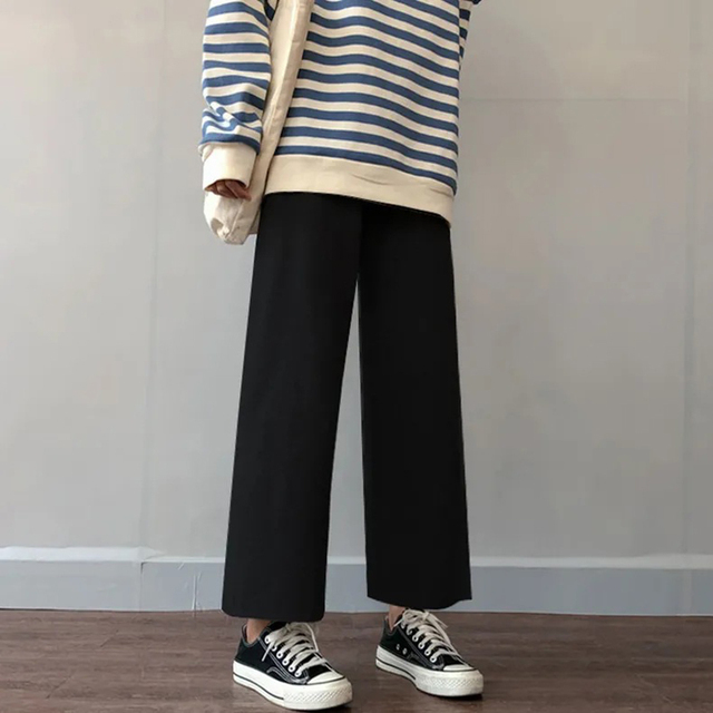 Cusual Pants Women Spring Summer Ankle-length Loose Wide Leg Elastic High Waist Oversize Black Simple Comfortable Elegant Ladies 3