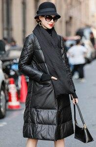 2019 Женское пальто из натуральной овчины с шарфом, настоящая кожаная куртка, зимнее пальто для мужчин, длинный пуховик A299