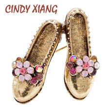 CINDY XIANG 3 Colors Choose Creative Design Shoes Brooches For Women Vintage Rhinestone Cute Brooch Pin Beautiful Gift Fashion