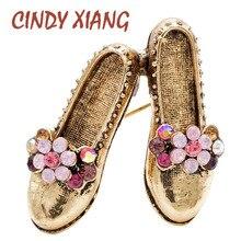 CINDY XIANG 3 colores a elegir de diseño creativo broches con forma de zapato para mujeres Vintage Rhinestone lindo broche Pin regalo de moda
