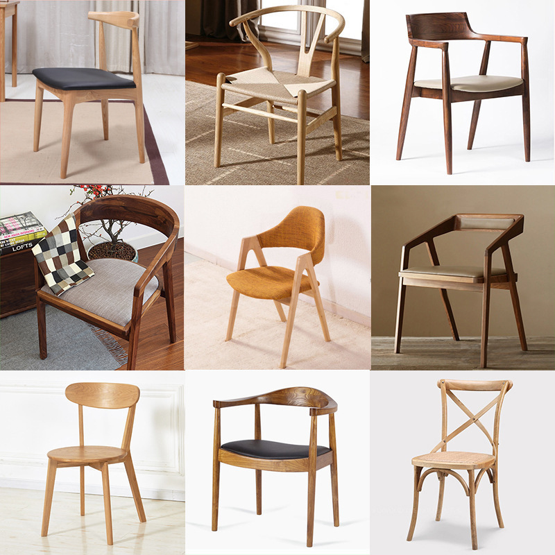 Manufacturer Custom Solid Wood Dining Chair Simple Home Living Room Restaurant Dining Table Chair Modern Office Personality