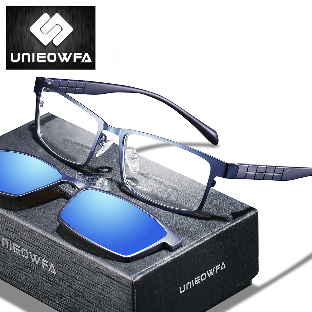 2 In 1 Magnet Polarized Clip Prescription Glasses Men Blue Light Blocking Optical Myopia Sunglasses Men Progressive Eyeglasses