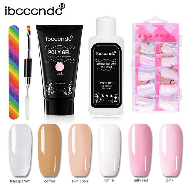 Pink Poly Gel Kit Nail Builder Gel Varnish Polish Polygel Quick Nail Extension Hard Gel UV Lacquer Slip Solution Nail Art Set 1