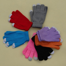 Knitted-Gloves Cashmere Solid-Mittens Wool Winter Warm Women's Thick for Mobile-Phone