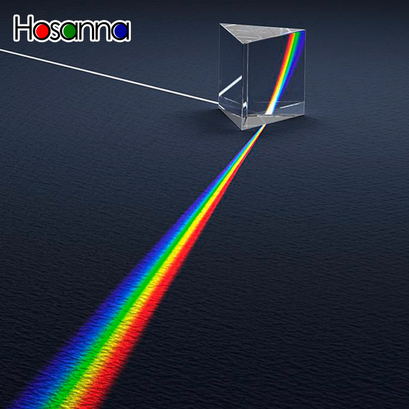 Prisme de verre triangulaire pour enseignement du spectre lumineux, jouet éducatif de science physique pour enfants