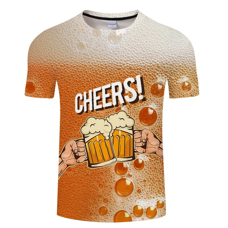 Yellow Beer T Shirt Men Women Funny 3d T-shirts Summer Hip Hop Crewneck Short Sleeve Happy Cheers Beer Tshirt 4XL