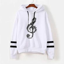 Menina notas musicais hoodie listrado impressão cordão manga comprida moletom com capuz casual womens pullover tops blusa # t1g