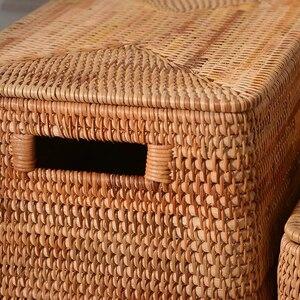 Image 3 - Laundry Basket Rattan Woven Storage Basket Handmade Brown Large Capacity Portable Clothing Storage Box Indoor Household Items