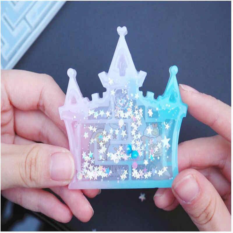 Lucu Labirin Pasir Cetakan Silikon Temuan Perhiasan Liontin Aksesori DIY Pesona Epoxy Resin Castle Shaker Labirin Cetakan Kerajinan