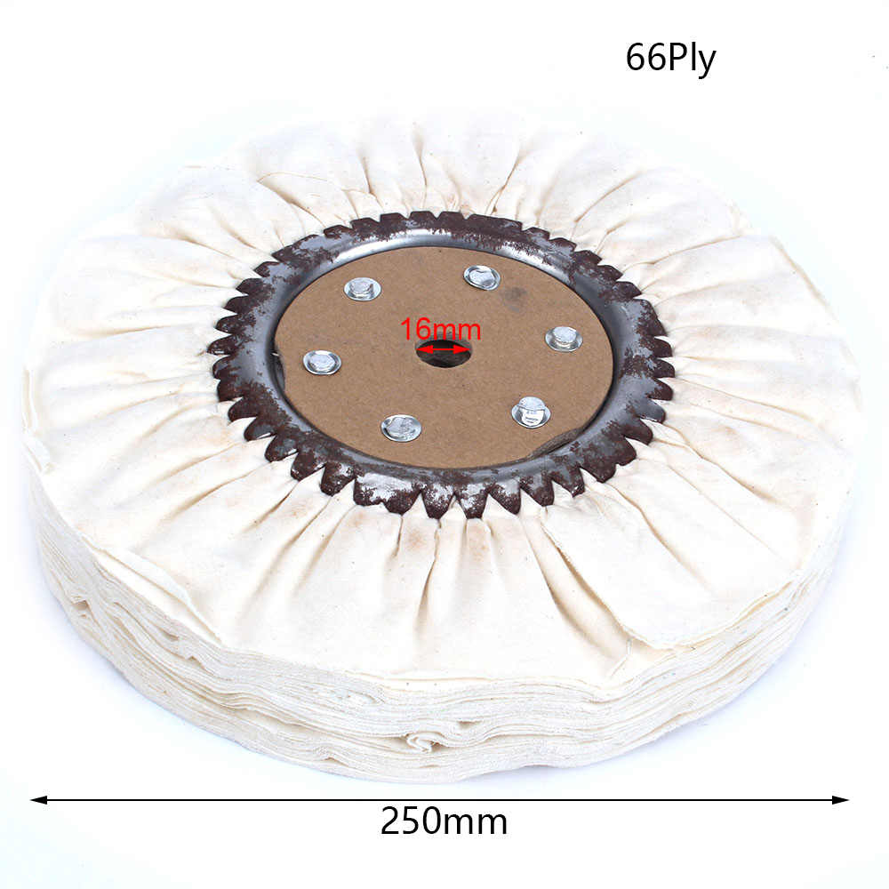 1Pc 250mm Cotton Airway Buffing Polishing Wheel Pad Cloth Wheel Disc 66 Plys Hole 16mm