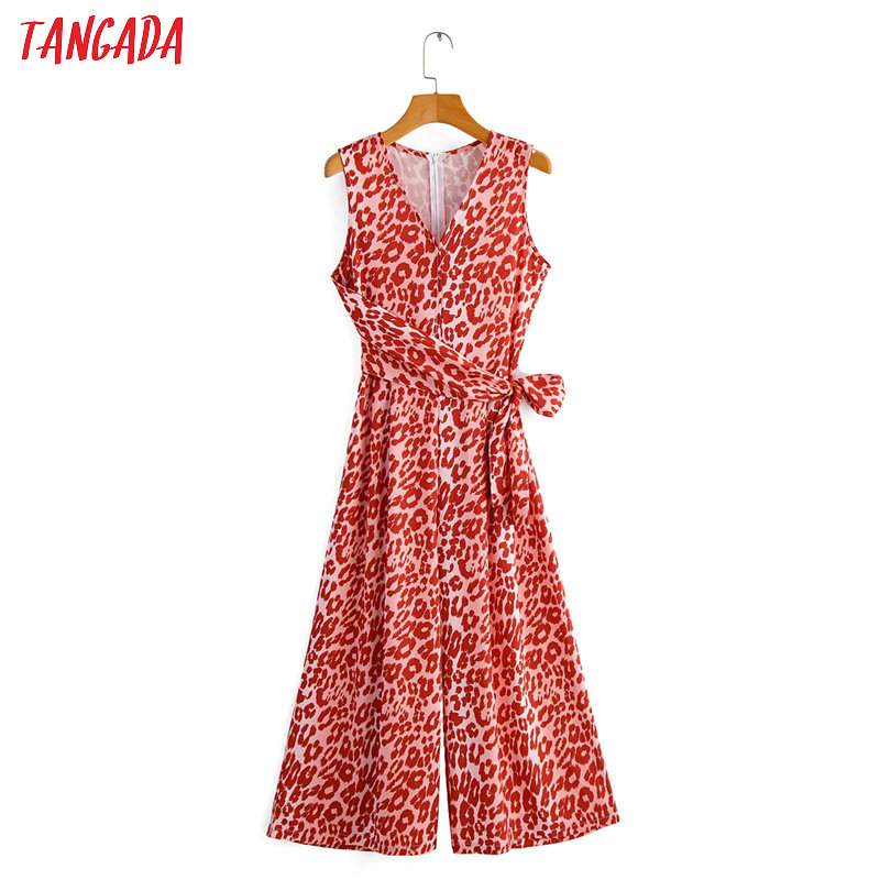 Tangada Women Red Leopard Print Long Jumpsuit Summer Bow Sleeveless V Neck Back Zipper Female Casual Jumpsuit 1F49