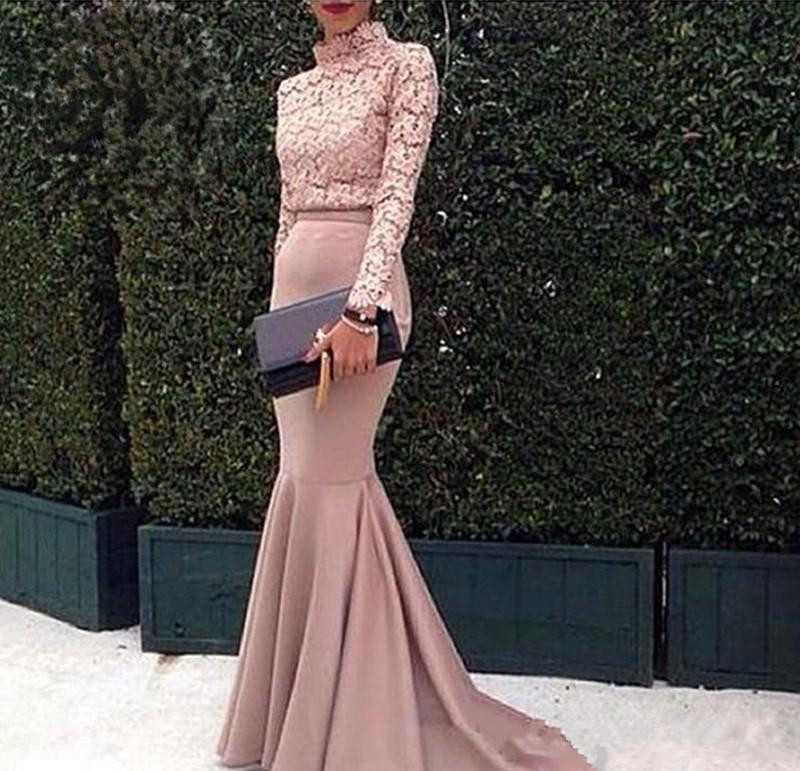 Dubai Arabic Evening Gown Lace High Neck Long Sleeves Mermaid Prom Dresses 2019 Fashion Pink Special Occasion Prom Dress Custom