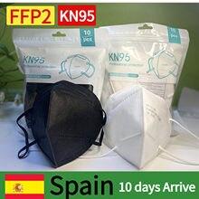 10-100 pces máscara kn95 mascarillas ffp2 fpp2 reusável máscara facial 5 camadas filtro respirador máscara protetora higiênica adulto máscaras ce