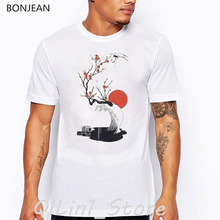 new arrival 2019 Red-crowned crane flowers sun vintage t shirt men 90s aesthetic clothes harajuku funny tshirt homme