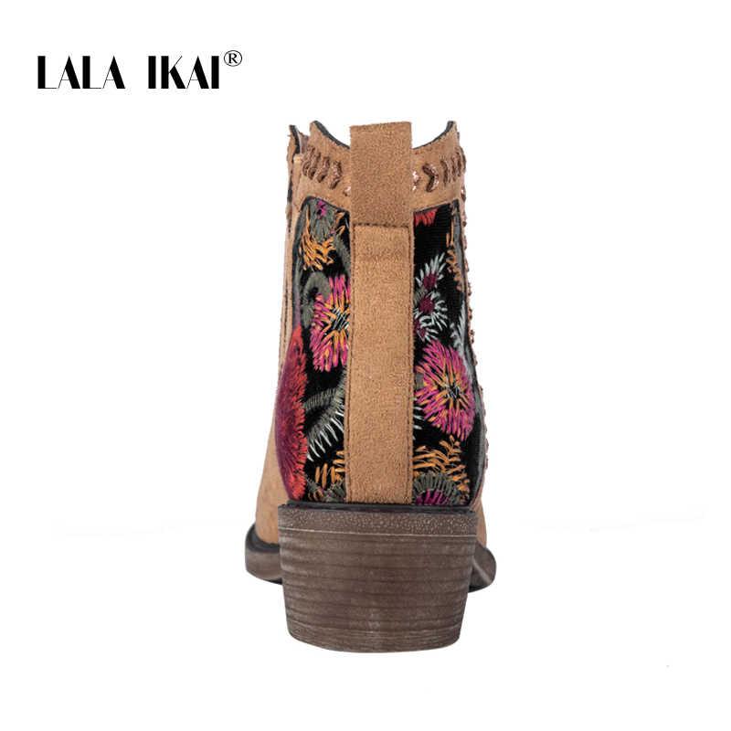 LALA IKAI Kadınlar Kış yarım çizmeler 2019 Sonbahar Nakış Slip-On Sıcak Çizmeler Kadın Karışık Renkler Kare Topuklu botas mujer a6135-4