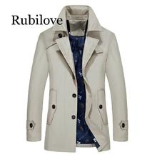 Rubilove Men Trench Jacket Autumn Men Fashion Brand Slim Fit Solid Color Lapel Long Overcoat Casual Trench Coat Male цена