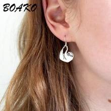 BOAKO Cute Lazy Sleepy Sloth Ear Stud Earring 100% 925 Sterling Silver Funny Sloth Pendant Small Stu