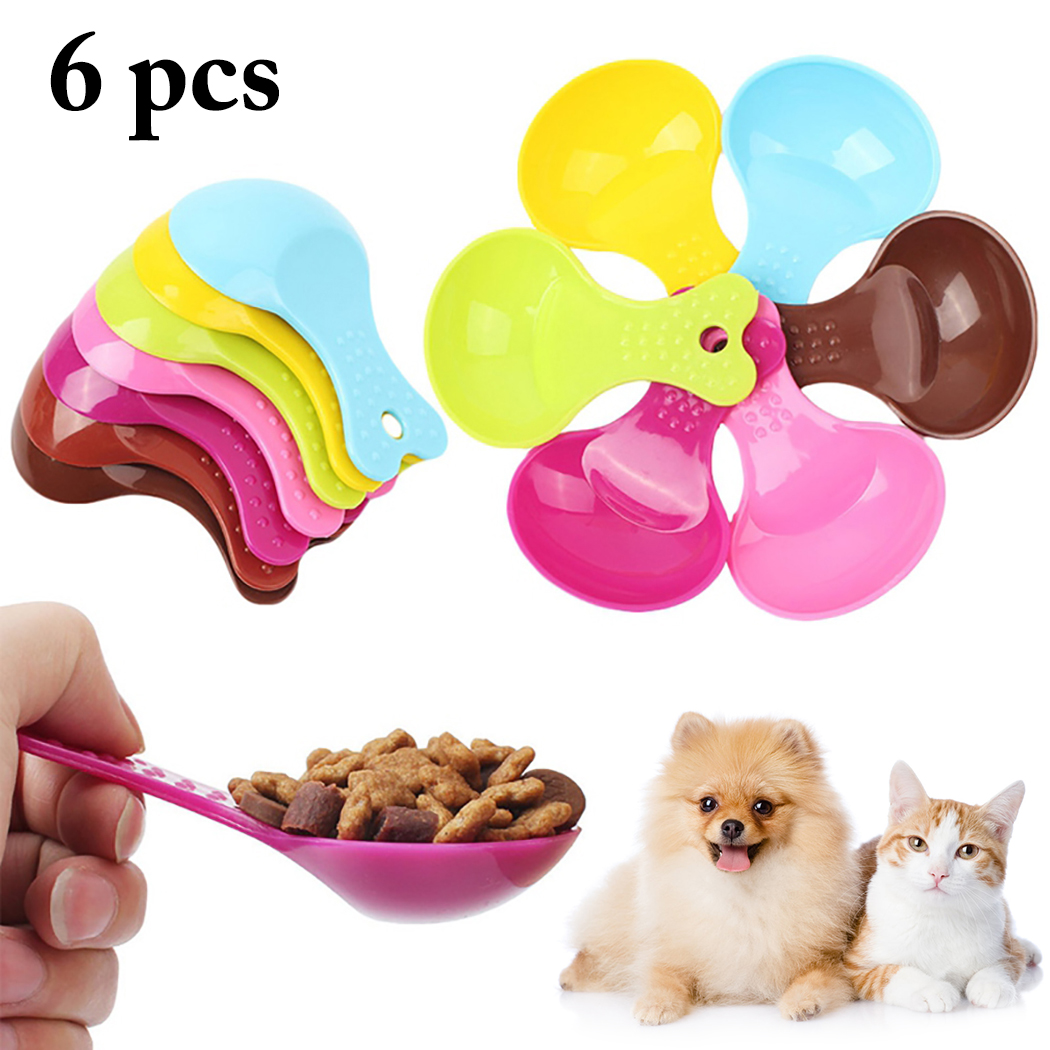 6pcs Pet Feeding Dog Puppy Cat Bird Ferret Rabbit Food Feeder Scoop Shovel Spade Dishes Spoon Tool Pet Supplies image