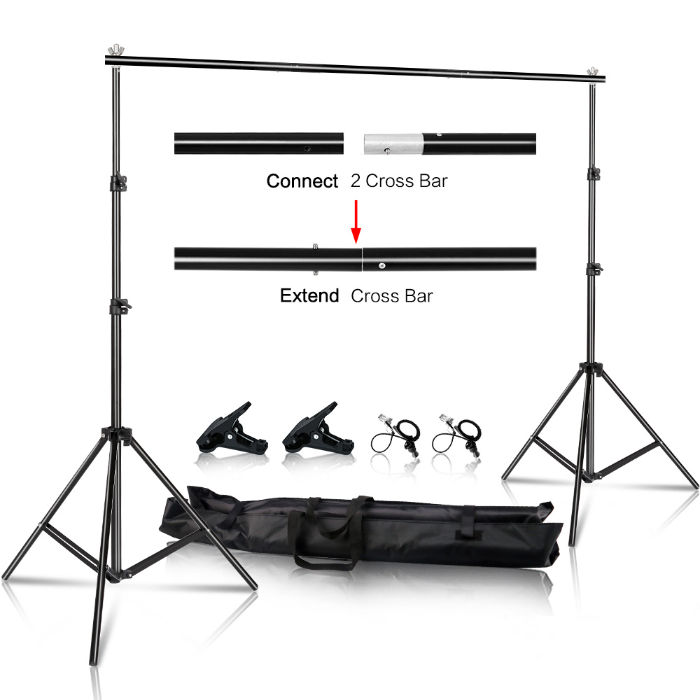 SH Background Stand Support System Photography Studio Backdrop Kit Holder with Carry Bag for Muslins Backdrops,Paper and Canvas