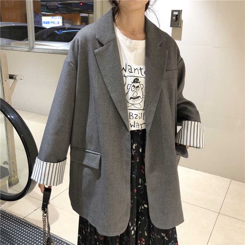 NiceMix  Solid Plus Size Women Blazer Causal Striped Sleeve Notched Blusas Autumn Chic Office Ladies Jacket Coat Chaqueta Mujer