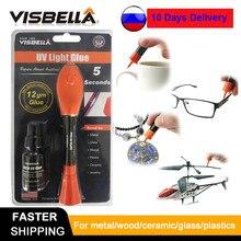Visbella caneta adesiva de plástico, novo 5 segundo correção uv luz líquida cola super alimentado garrafa de solda líquida de vidro metal led reparo de reparo