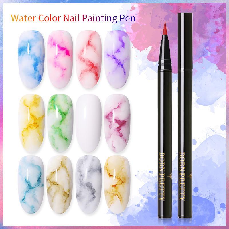От BORN PRETTY-2 шт./компл. акварельные краски польский цветущие Гель-лак для ногтей с эффектом дыма Магия палец пузырь лак для творчества маникюр ...