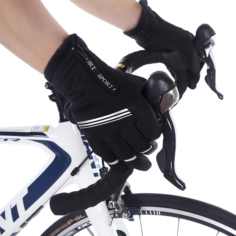 Radfahren Handschuhe Voll <font><b>Finger</b></font> Touch Screen Dämpfung Anti-slip Outdoor Winter Bike Riding Sport guantes ciclismo image