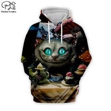 Halloween Men women 3d Hoodies Sweatshirt  cartoon Alice Cheshire Cat print tshirt zipper Christmas pullover unisex Tracksuit