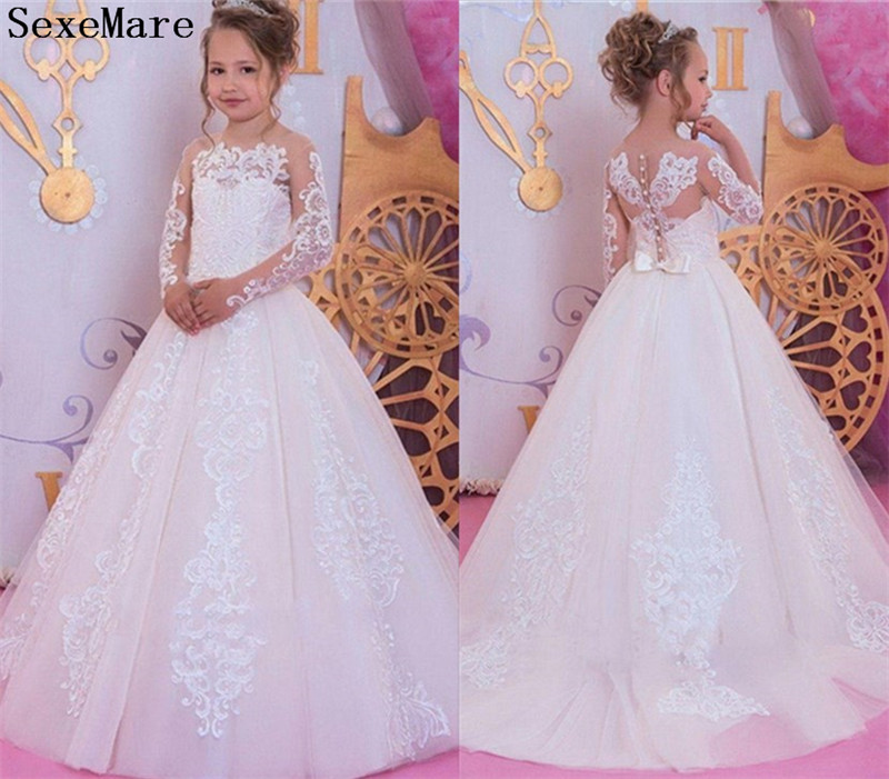 Long Sleeves White Flower Girl Dresses Lace Applique For Weddings Girl First Communion Gown Pageant Party Dresses