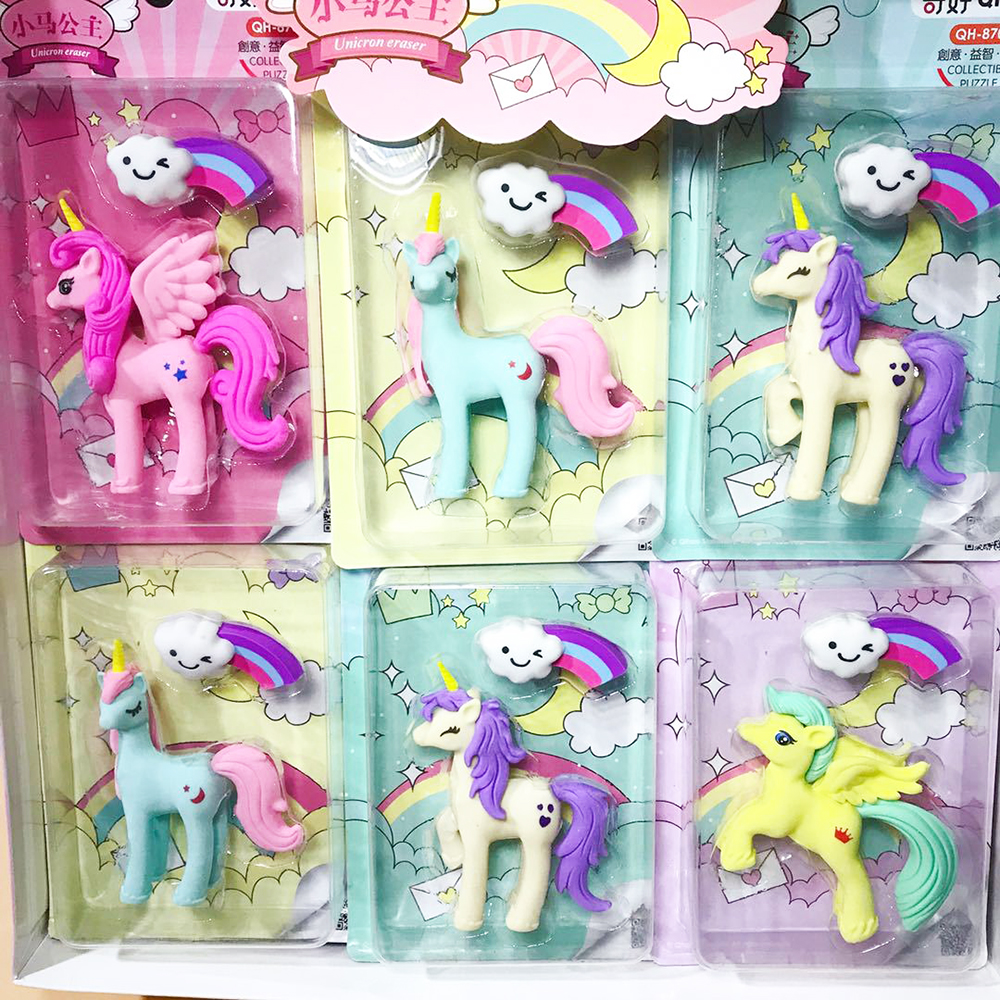 1set Creative Unicorn Cloud Rainbow Eraser Student Pecncil Rubber Eraser Correction Tool Office School Stationery Supplies